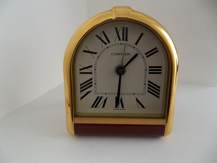 Alarm clock - Cartier - Gold plated & laquer - 1990