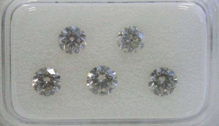 5 pcs Diamonds - 1.21 ct - Round - Mix Color - VVS1-SI1
