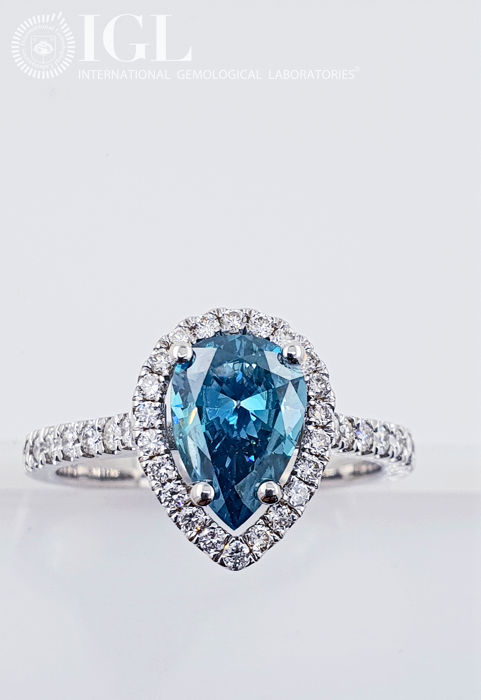 14 carats Or blanc - Bague - Traitement de couleur 1.92 ct Diamant - VS1