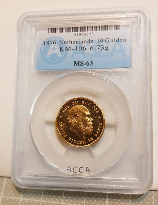 The Netherlands - 10 Gulden 1876 ACCA MS-63 - Gold