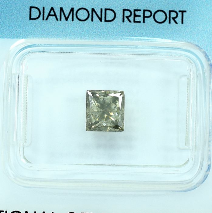 Diamant - 1.00 ct - Prinses - Natural Fancy Yellowish Gray - P1