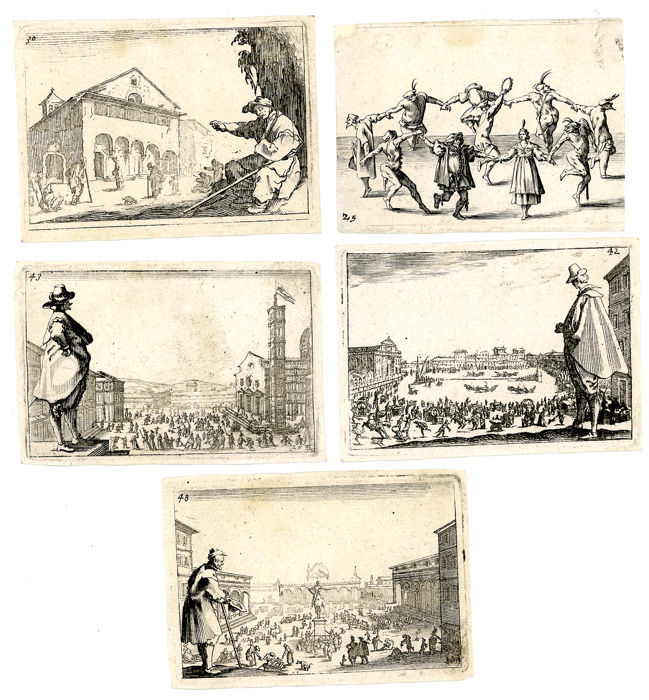 By or after Jacques Callot  - 5 prints from Capricci di varie figure