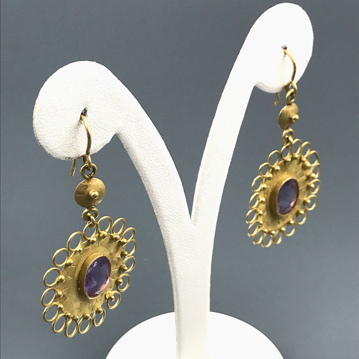 18 kt. Yellow gold - Earrings Amethyst