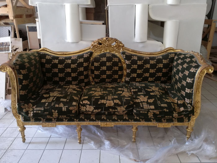 3 seater sofa in Empire Revival style - carved and gilded wood - Late 19th century