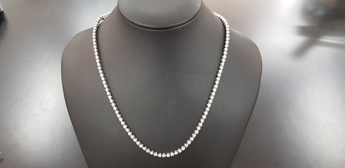 14 kt. White gold - Necklace - 7.00 ct Diamond