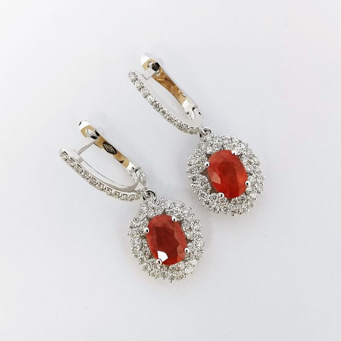 18 quilates Oro blanco - Pendientes - 2.01 ct Zafiro - Diamantes