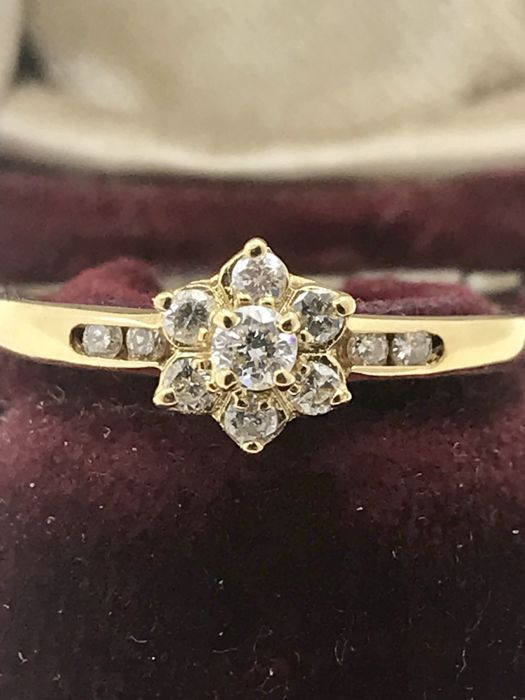 18 kt. Floral clusters , Yellow gold - Ring - Diamonds