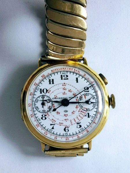 Universal Watch -  18 kt Gold Single Button Chronograph - Bărbați - 1901-1949