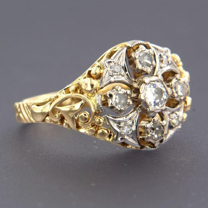 14 quilates Oro amarillo, Oro blanco - Anillo - 0.50 ct Diamante