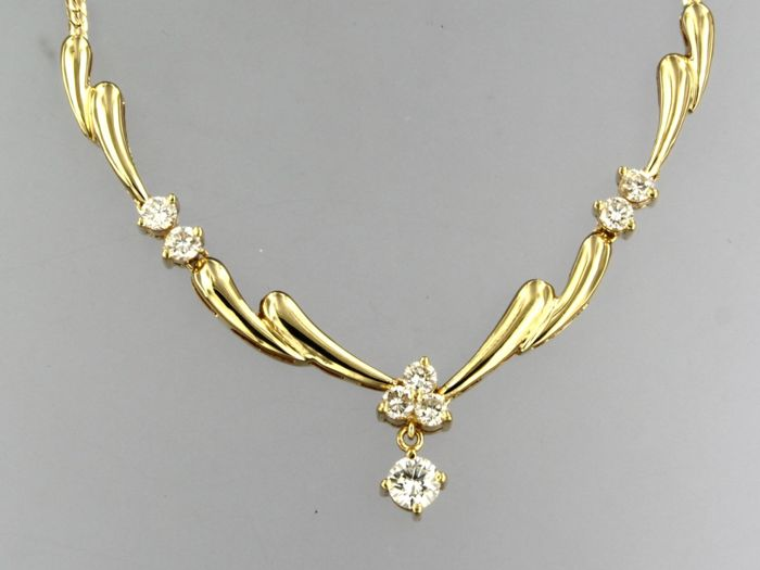18 quilates Oro amarillo - Collar - 1.40 ct Diamante
