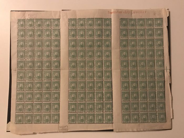 Belgian Congo 1886 - Independent State of Congo - 5c green in complete panel of 150 - OBP / COB 6