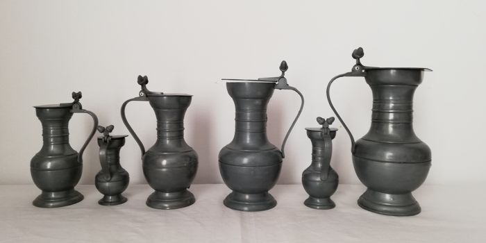 Cups of tin (6) - Art Deco - Pewter/Tin