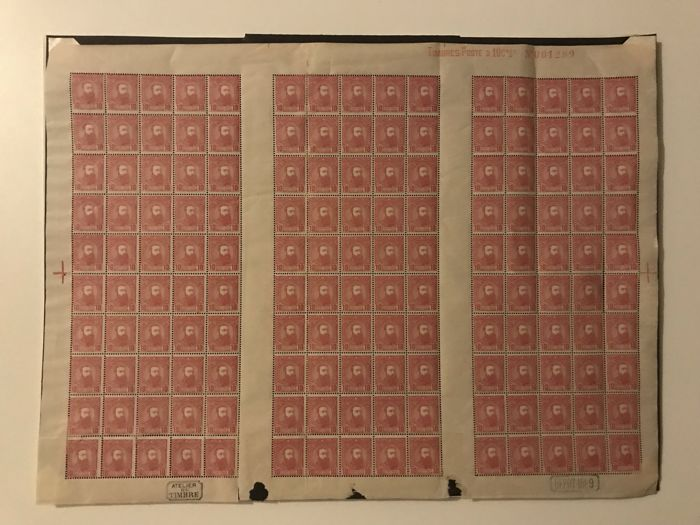 Belgian Congo 1886 - Independent State of Congo - 10c pink in complete panel of 150 - Certificate by Lindekens - OBP / COB 7