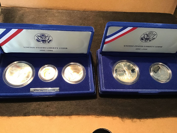 United States - 2 Sets  1986 - Gold, Silver