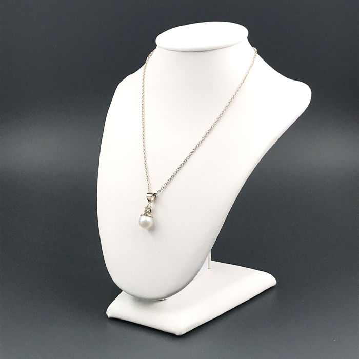 18 quilates Oro blanco - Collar con colgante - 0.05 ct Diamante