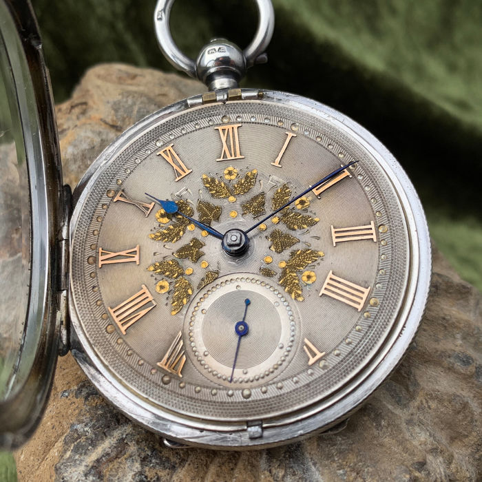 English lever pocket watch - Silver dial - Hombre - 1890