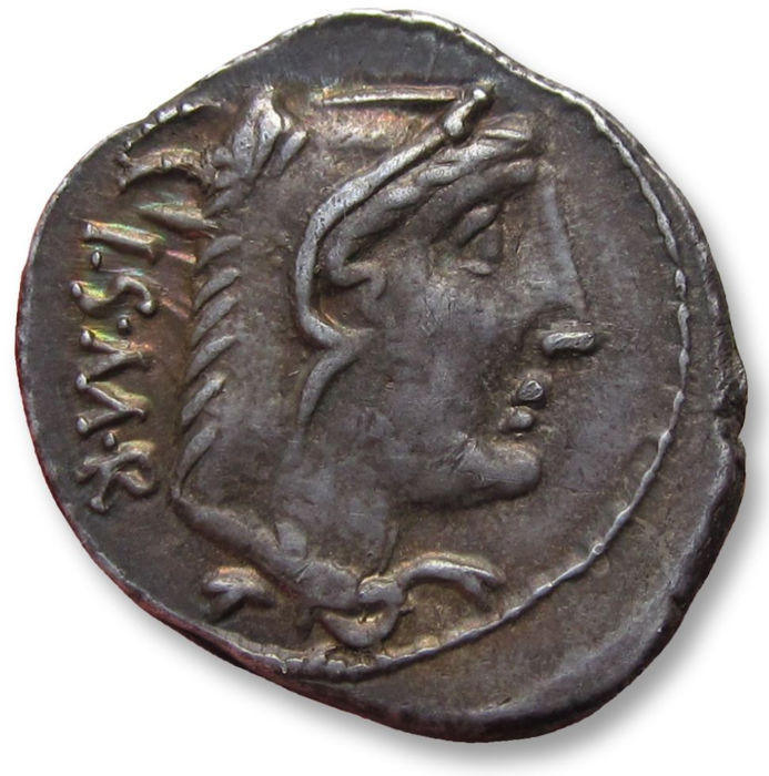 Roman Republic - AR denarius, L. Thorius Balbus, Rome 105 B.C. - interesting piece w clearly visible weight adjustment marks on rev (= result of Al Marco method) - Silver