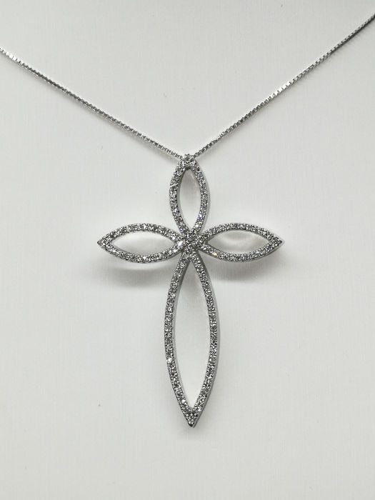 18 kt. White gold - Necklace with pendant - 0.60 ct Diamond
