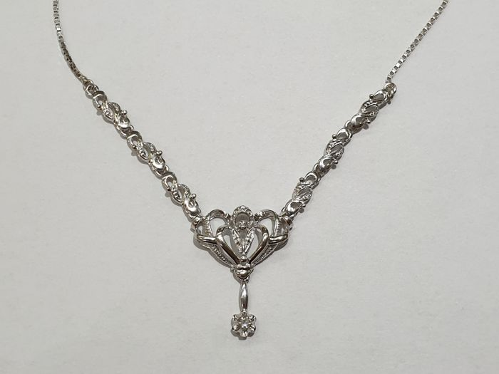 18 kt. White gold - Necklace with pendant - 0.04 ct Diamond