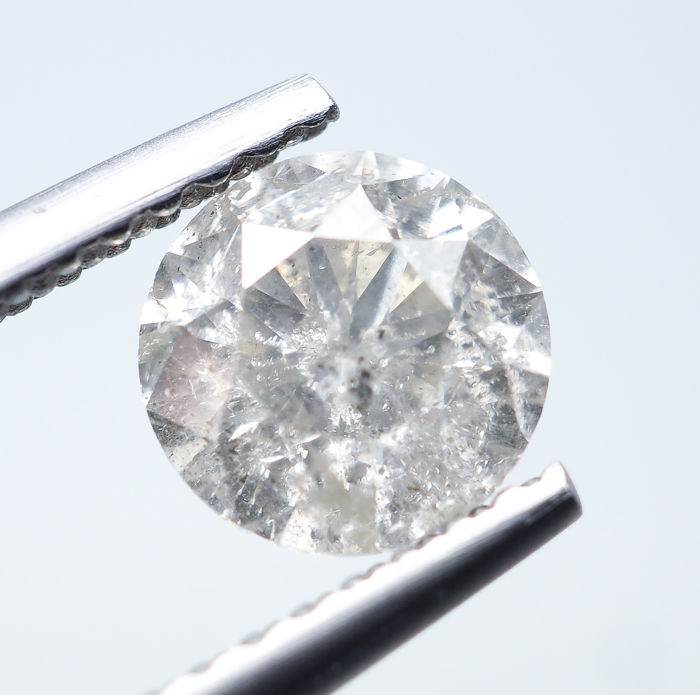 Diamant - 1.00 ct - Natural White - K color - I2 *NO RESERVE*