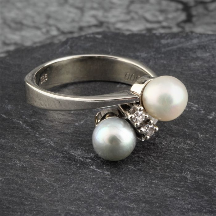 14 kt. Gold, White gold - Ring, Two Pearls Solitaire Lady's Ring 0,06Ct RS53 - Diamond