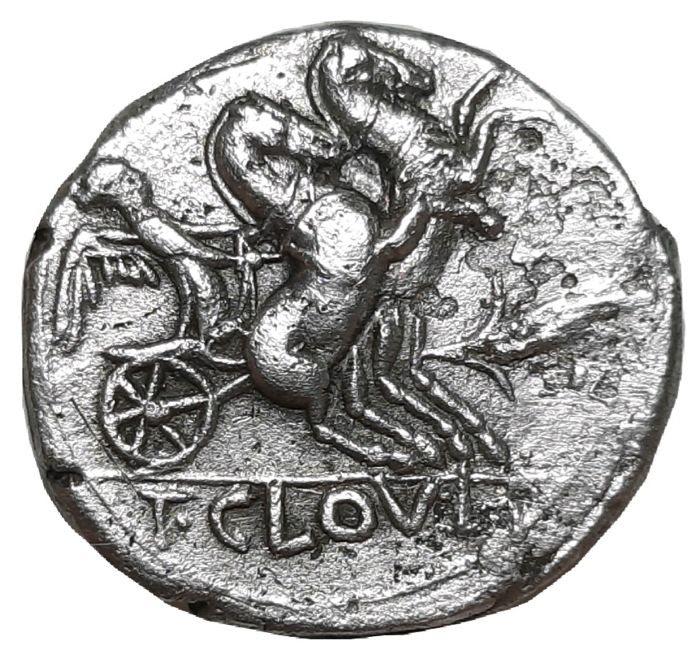 Romeinse Republiek - AR Denarius, T. Cloelius c. 128 BC - Victory in biga with ear of wheat - Cr. 260/1 - Zilver