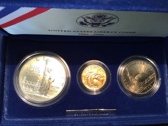 United States - Coinsets 1986 'Statue of Liberty Centenknial' with gold 5 Dollar