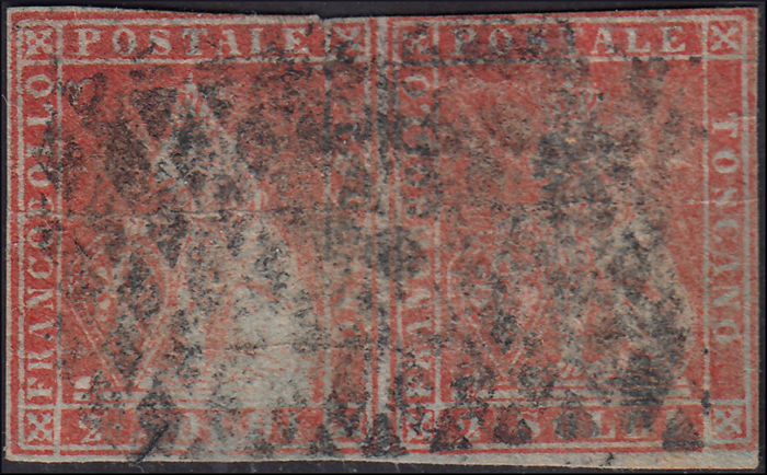 Groothertogdom Toscane 1851 - 1st issue s. 2 scarlet on blue, horizontal pair, used - Sassone N. 3