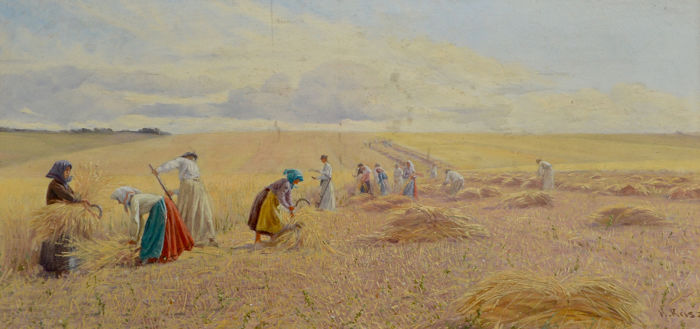 Hermann Reisz (1865-1920) - Women harvesting wheat in the sunshine