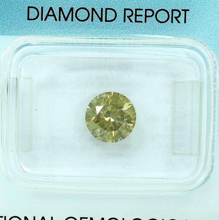 Diamant - 1.36 ct - Brillant - Natural Fancy Intense Brownish Yellow - SI2