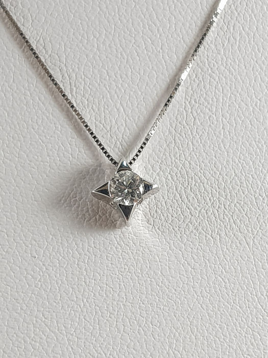 Miluna - 18 kt. White gold - Necklace with pendant - 0.20 ct Diamond