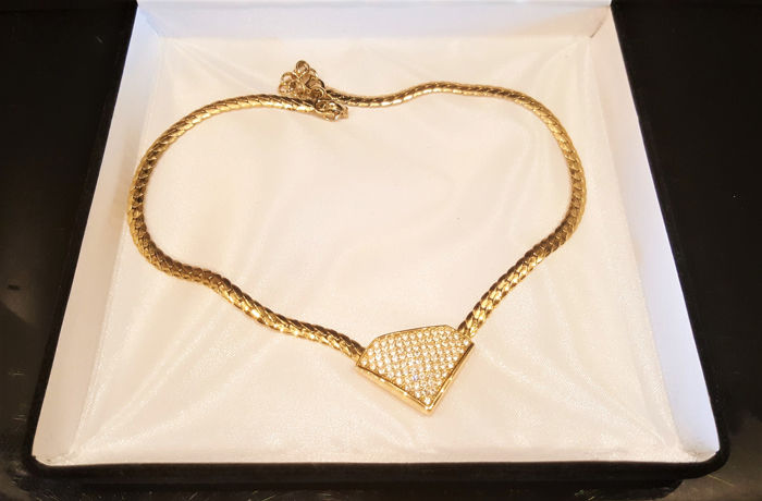 CHRISTIAN DIOR 18kt gold plated Crystal Necklace
