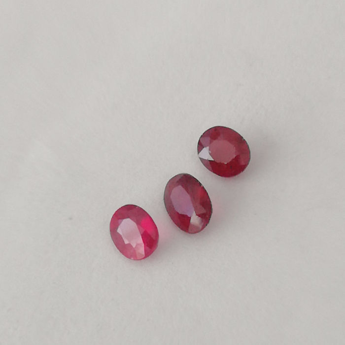 3 pcs Red Ruby - 3.08 ct