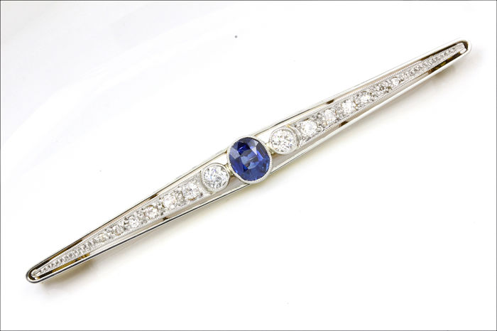 18 kt. Platinum, Yellow gold - Brooch - 0.80 ct Sapphire - Diamond