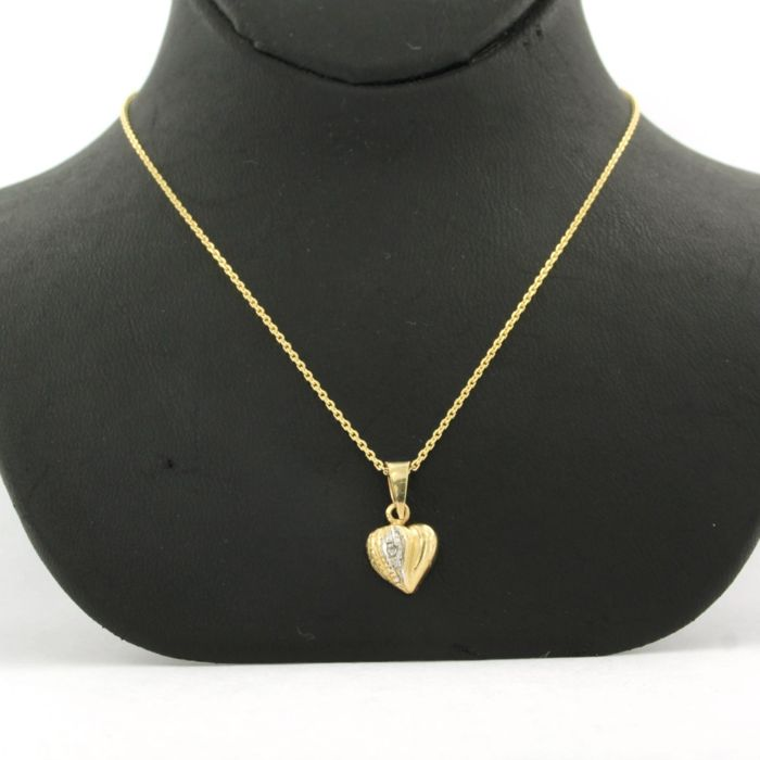 14 kt. White gold, Yellow gold - Necklace, Necklace with pendant Diamond