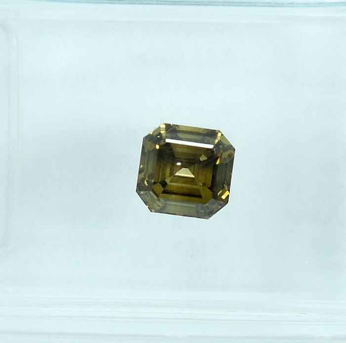 Diamant - 0.51 ct - Carré - Natural Fancy Deep Brown-Yellow - SI1