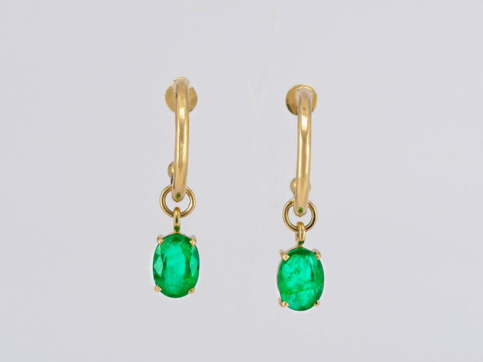 14 kt. Yellow gold - Earrings - 1.20 ct Emerald