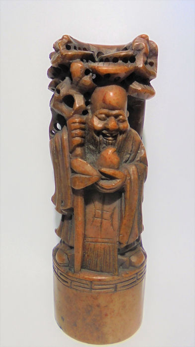 1 x - Yi -   Shou God Of longevity The peach is considered a blessed fruit, a symbol of longevity and (1) - Historicism - Soapstone