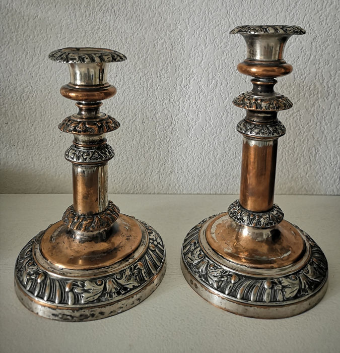 Antique victorian Sheffield set of 2 floral candlestick holders - Silverplate - U.K. - Late 19th century