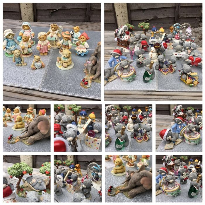 Massive Collection of rare blue nose tatty Teddies and cherish teddies and tusker figures  - Resin