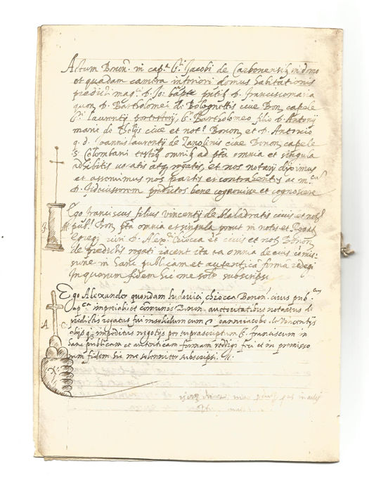Alexander Loudovici Sciacca notaio - Manuscript; Notarial deed on big land property sale - 1570