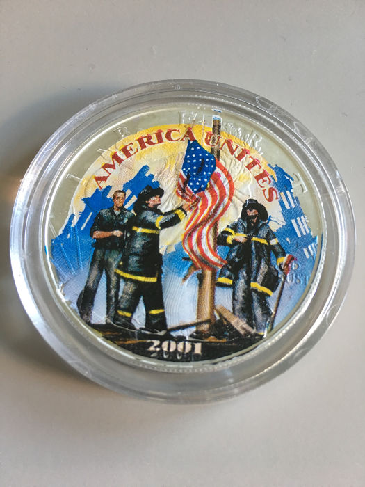 """USA - 1 Dollar 2001 - American Eagle '""""America Unites  Remembering out Heroes""""' - 1oz - Silver"""