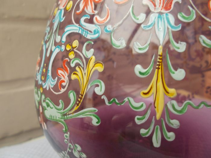 Beautiful glass, vase in crystal, hand-painted (1) - Crystal