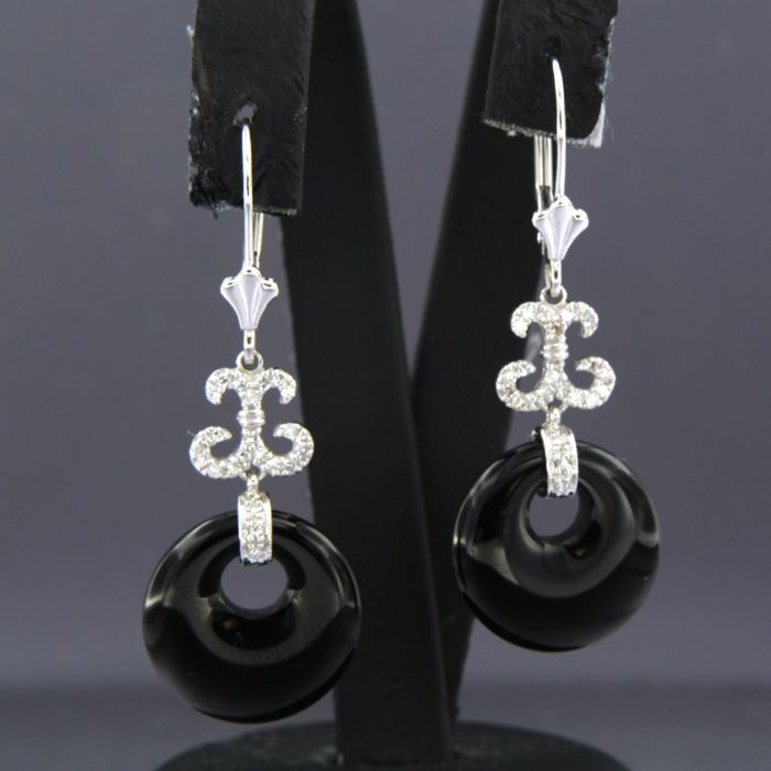 14 kt. White gold - Earrings - 0.24 ct Diamond - onyx