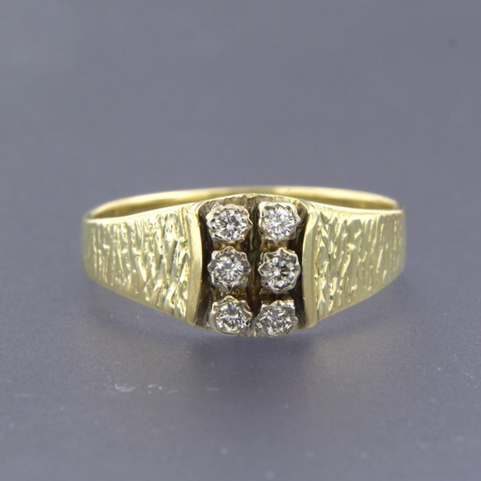 14 quilates Oro amarillo, Oro blanco - Anillo - 0.12 ct Diamante