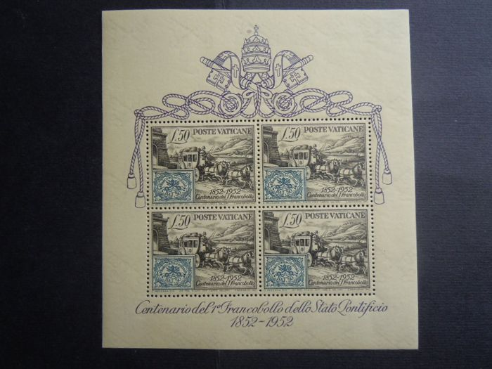 Vatikanstadt 1952 - Souvenir sheet centenary of the stamps of the Papal States - Sassone N. 1