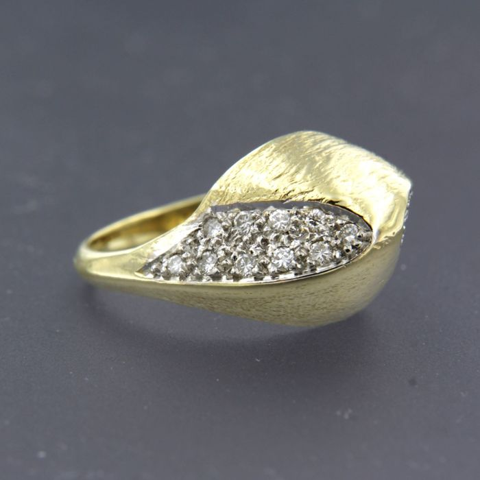 14 karaat Geel goud, Witgoud - Ring - 0.30 ct Diamant