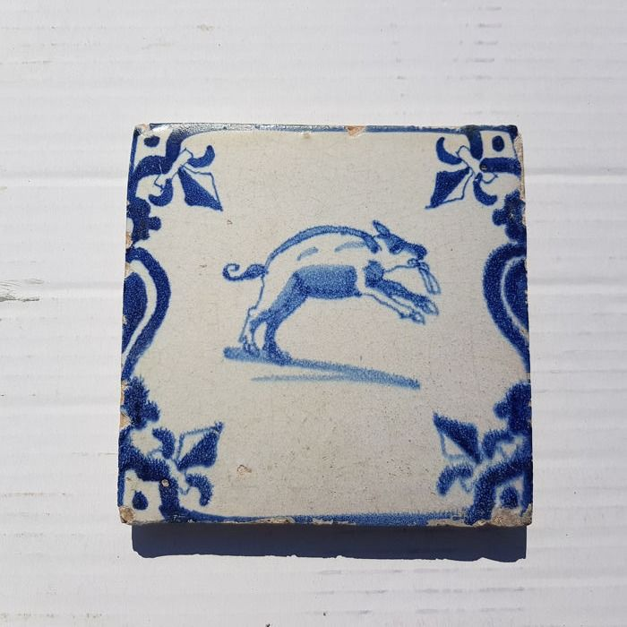 Antique tile with Pig (1) - Earthenware