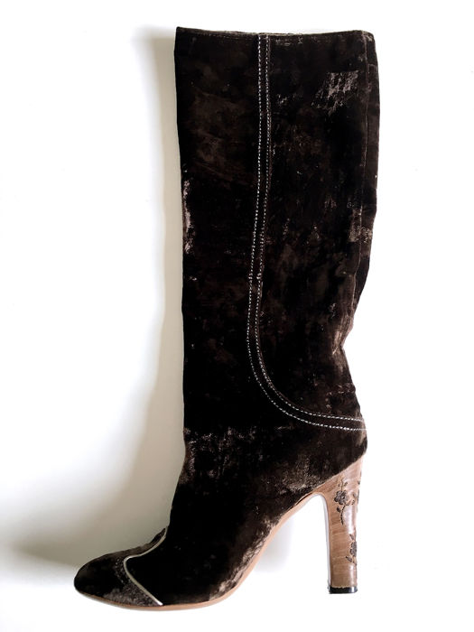 Bottega Veneta - Velvet Knee-high Boots Knee high boots - Size: FR 39, IT 38, US 8