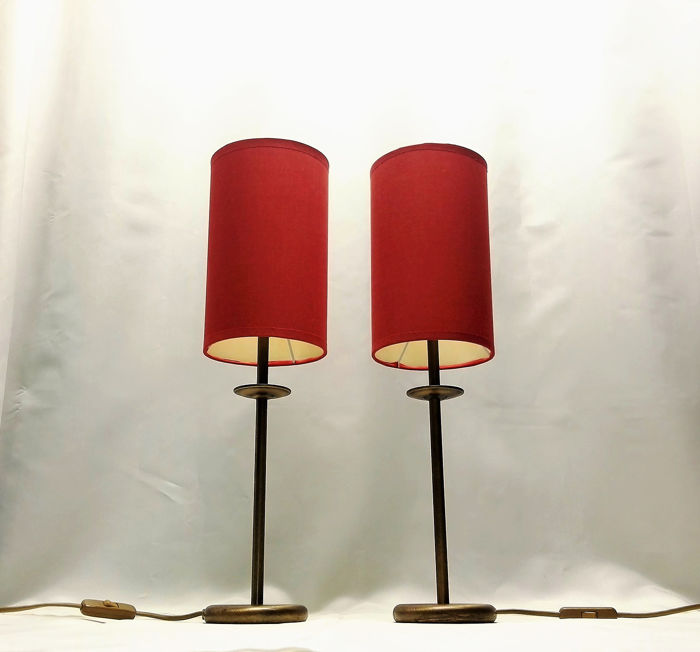 Bronze Colored Identical Table Lamps With Special